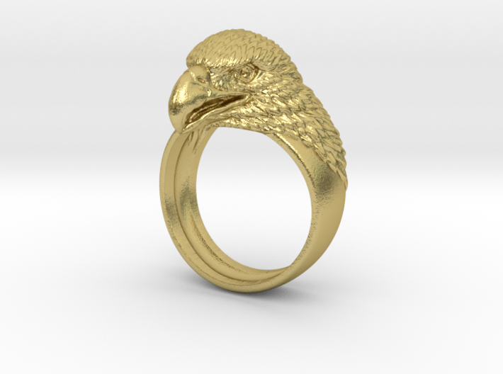 Eagle head ring bird jewelry 3d printed