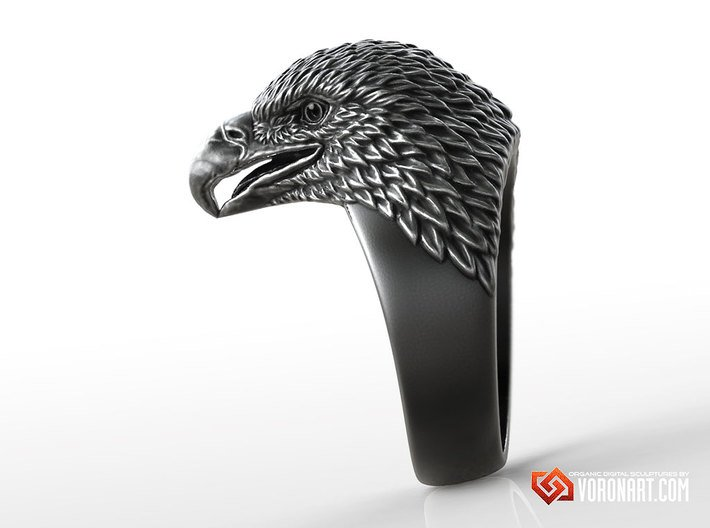 Eagle head ring bird jewelry 3d printed Antique silver. Digital preview. Not a photo