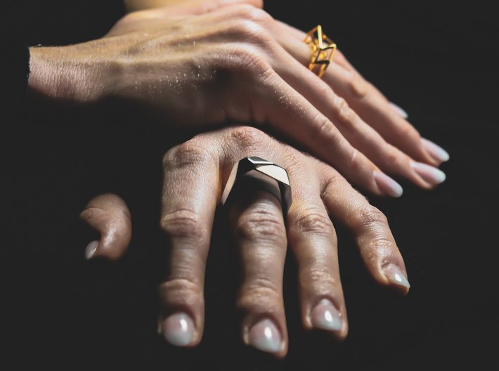 Silver Ring: 925 silver – geometric, contemporary 3d printed