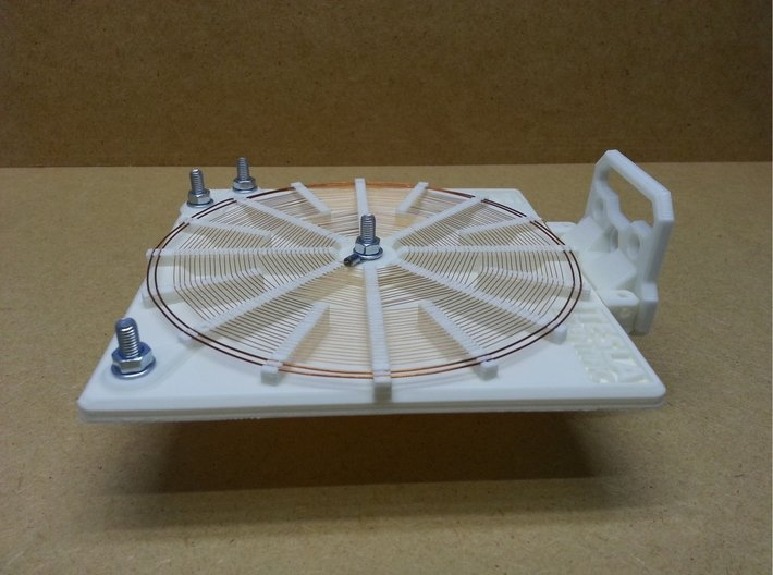 Tesla Flat Spiral Coil Base B - 140mm 3d printed Coil with optional stand in horizontal position