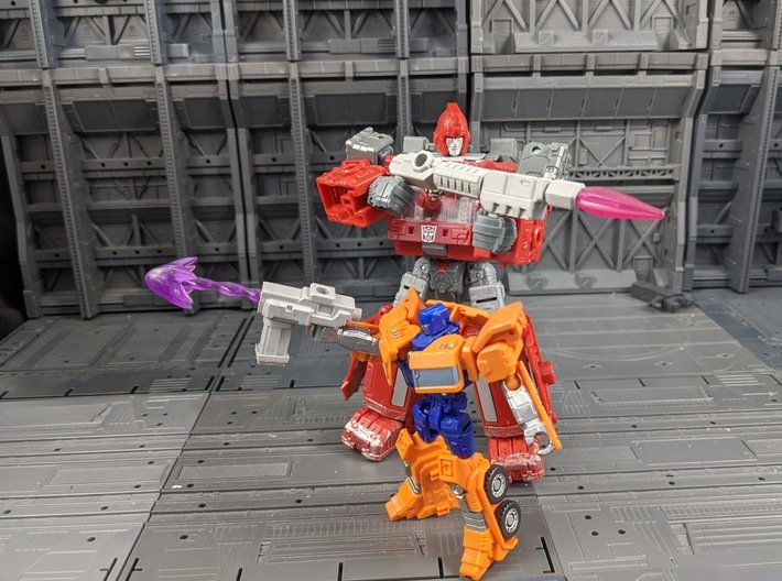 TF Weapon Seige Earthrise Combiner Blaster Set 3d printed Combined into 2 separate weapons