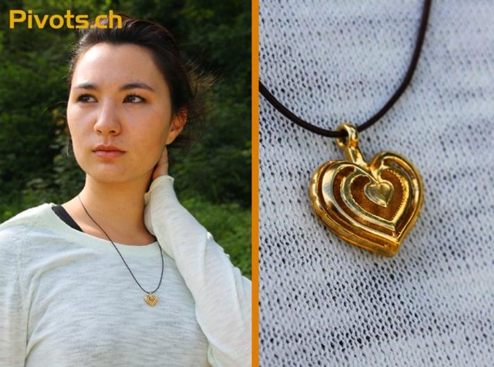 Heart Pendant 'Mylène' 3d printed Model wearing our heart pendant