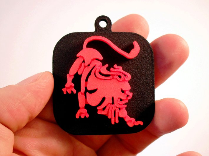 """Base for """"Keychain Zodiac Lion"""" (two color) 3d printed Base and Lion printed in black and red polished plastic."""