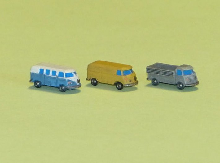 VW Bus Type 1 1/285 6mm 3d printed Set of 8..