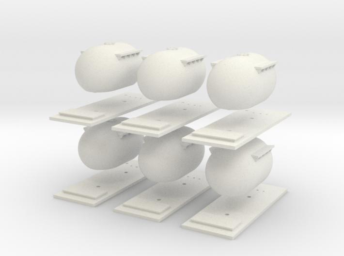 "6 Pack CIE Bulk ""Bubble"" Cement Tank N Scale 3d printed"