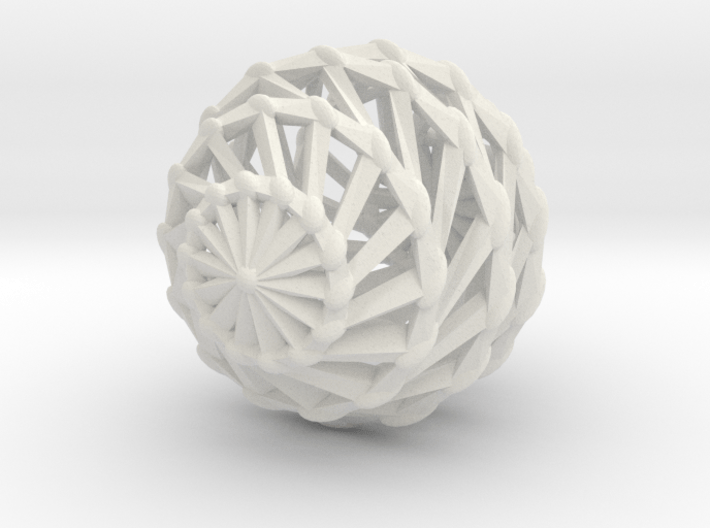 twisted lattice sphere with knobs earring 1 3d printed