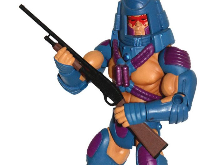 """MOTUC Smith & Wesson 916A Shotgun """"Grobe Kelle"""" 3d printed Painted Prototype printed in White Strong & Flexible Polished"""