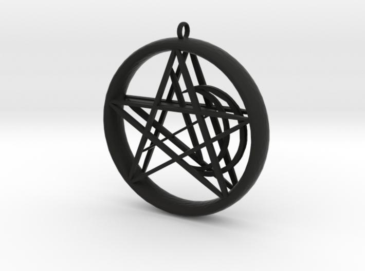 1.5in Pentacle Floating Moon n Star Pendant 3d printed