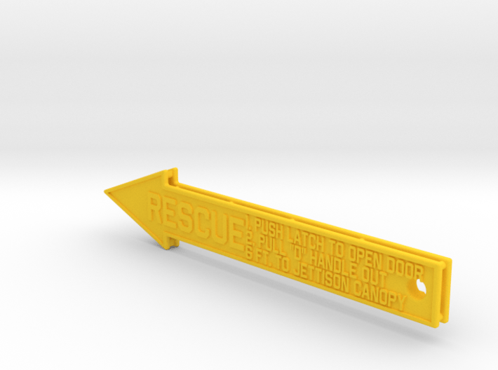4 inch KeyChain RESCUE Yellow Sign 3d printed
