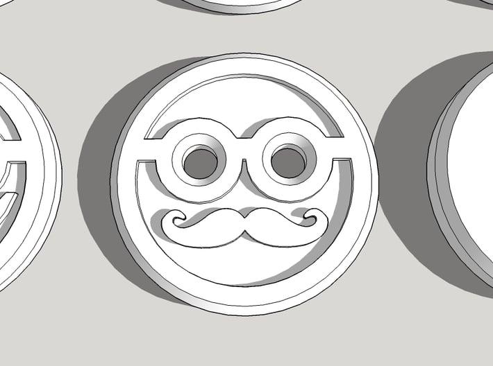 Mr Moustache Shirt Button 3d printed