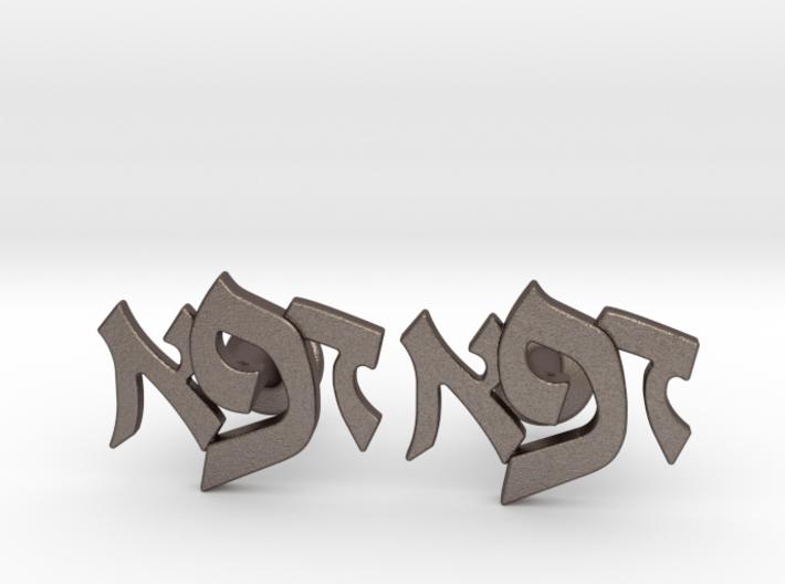 "Hebrew Monogram Cufflinks - ""Daled Aleph Pay"" 3d printed"