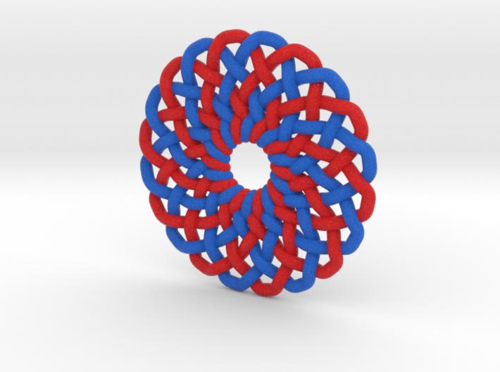 Circle Knot Pendant - 2 colour strand 3d printed