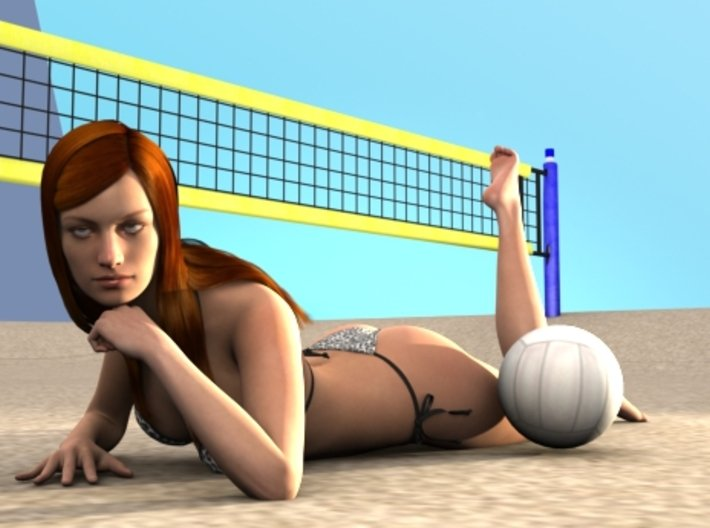 Female Laying Down 3d printed Female model laying down at the beach.