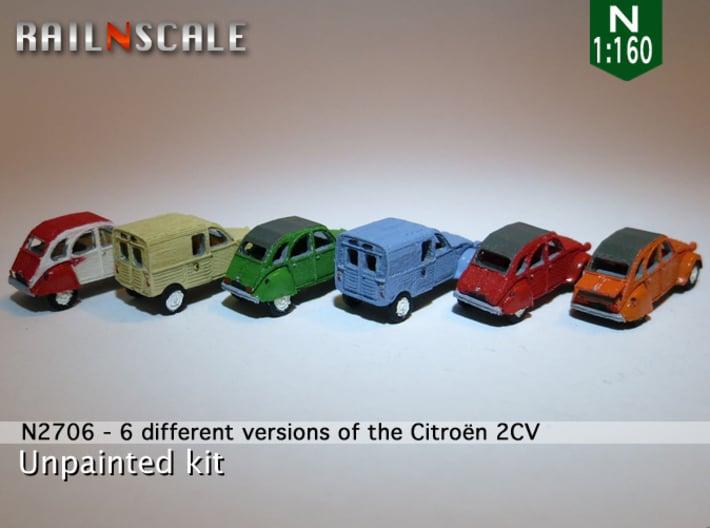 SET 6x Citroën 2CV (N 1:160) 3d printed
