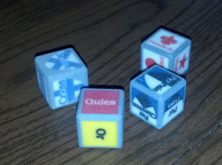 Complete Set of Blazonry Dice 3d printed A newer version than the other picture, though the light is not great.