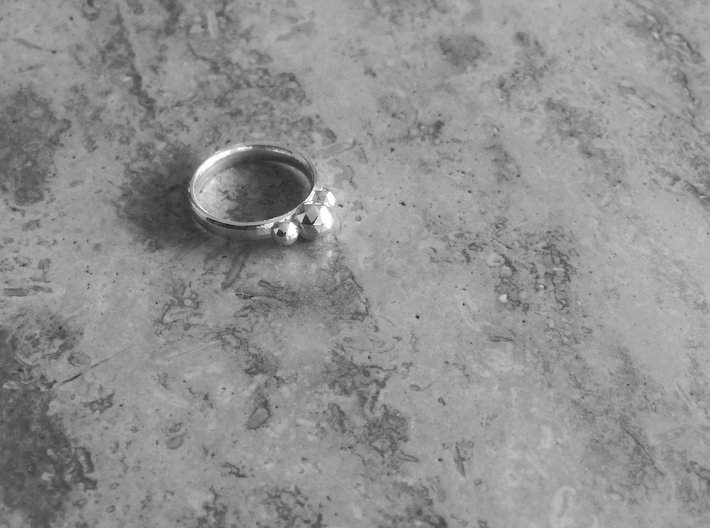 GeoJewel Ring UK Size R US Size 8 5/8 3d printed Polished Silver GeoJewel Ring