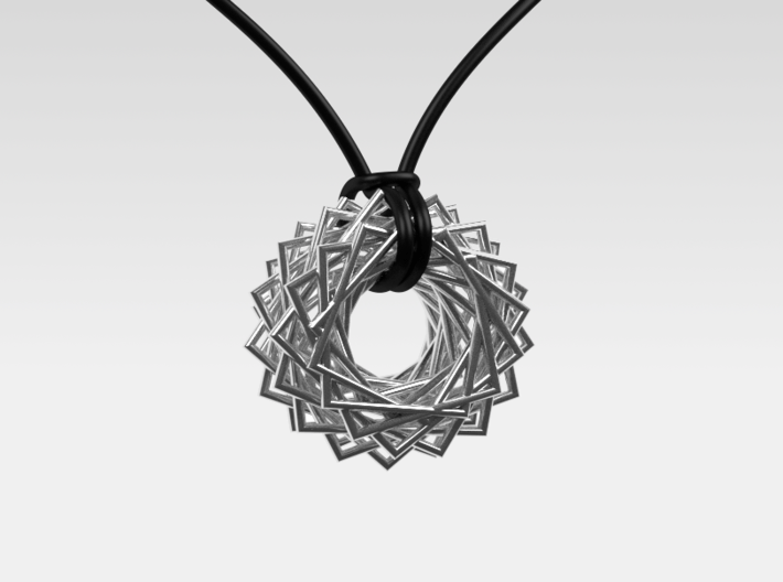 Twisted Ring Pendant - Part 2 3d printed Polished Silver