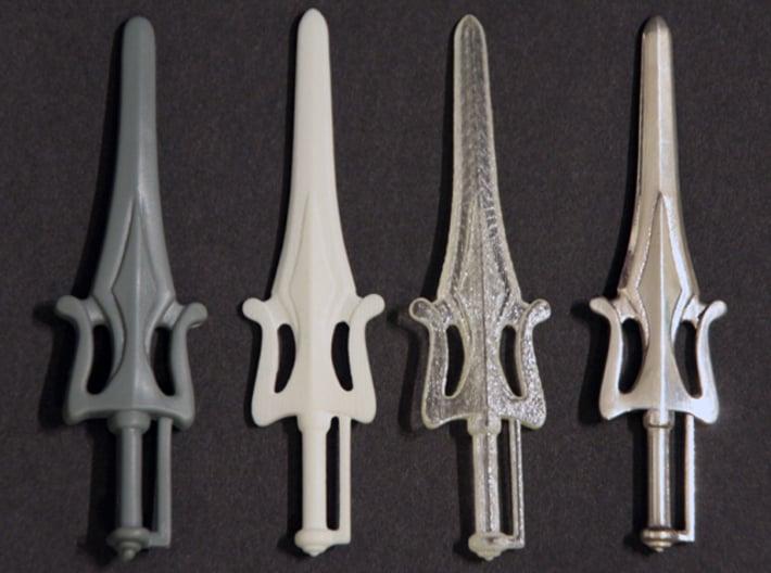 Power Sword 3d printed Original, White Detail, Transparent Detail, Silver Glossy