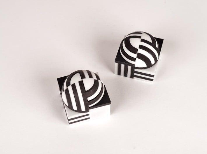Sphere Version Of Simple Cube Positive 4 Piece 3d printed half cube, half sphere