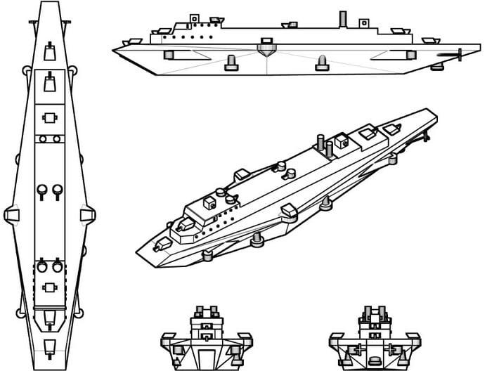 HMAS Hannibal 1:600 x2 3d printed Render