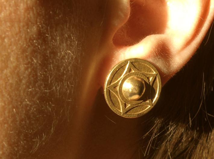 Buckler earring stud (14th c. Shield) 3d printed