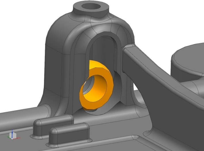 1/32 Fly Porsche 908 Chassis fits Slot.it SW Pod 3d printed Inside Left Front Axle Mount