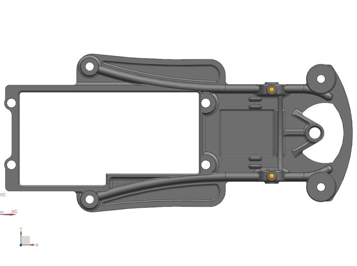 1/32 Fly Porsche 908 Chassis fits Slot.it SW Pod 3d printed Top View
