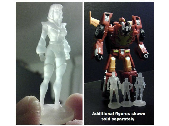Carly homage Space Woman 1.89inch Transformers Min 3d printed 1.89 inch Carly printed in Frosted Ultra Detail with other mini-figures i.e. Spike and Daniel (Each Sold Separately)