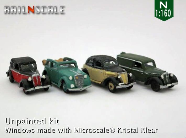 German 1930s cars (SET B) N 1:160 3d printed