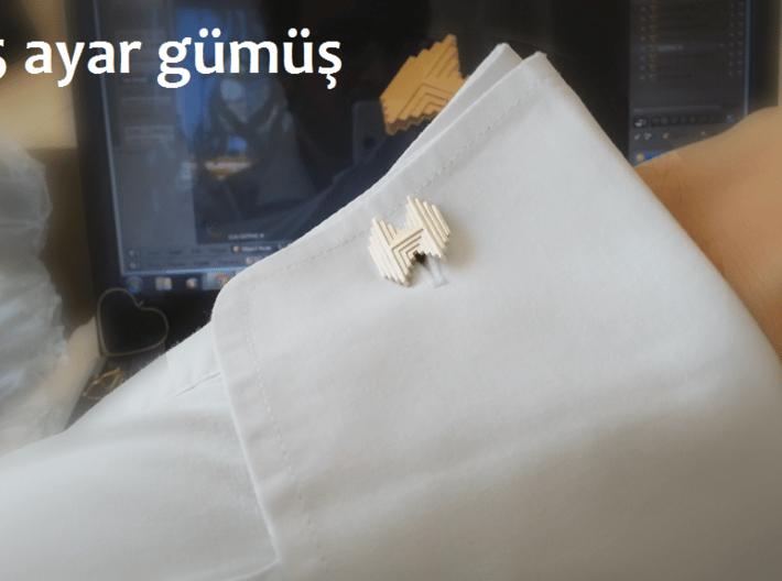 Gothic H cufflinks 3d printed