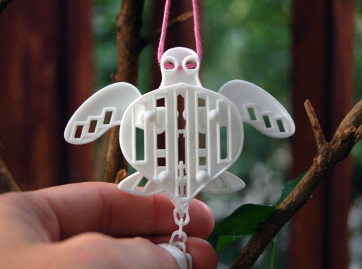 Sea Turtle with Pull-Chain // Interlocking Pieces 3d printed