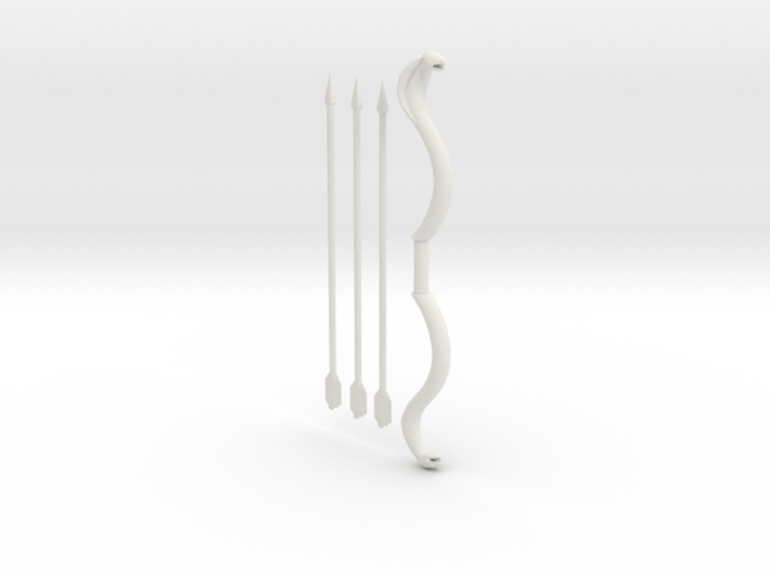 Snake Bow and 3 Arrows, 4 mm handle 3d printed