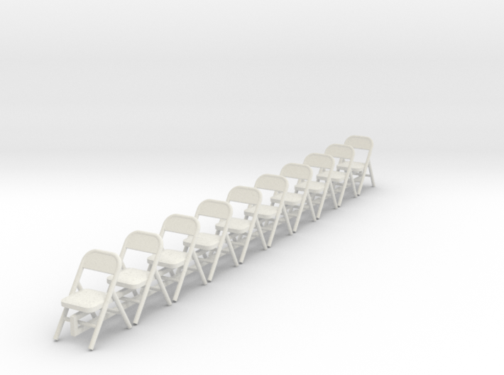 10 1:48 Metal Folding Chairs 3d printed