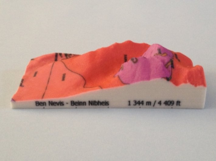 Ben Nevis - Strata 3d printed Photoof Ben Nevis - Strata model(note: new height of Ben Nevis of 1 345 m is now printed on the model)