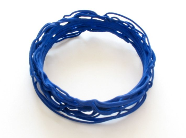 Turbulent Bangle 1 3d printed Bangle printed in blue strong and flexible