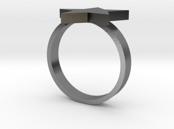 Silver Ring (small star) 3d printed