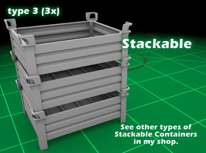Stackable Container Type3 (3x) 3d printed