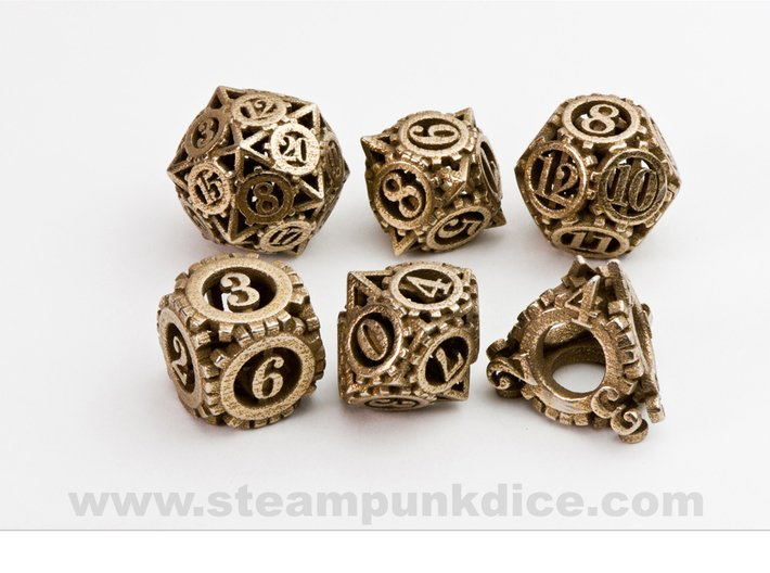 Steampunk Gear Dice Set noD00 3d printed Stainless Steel