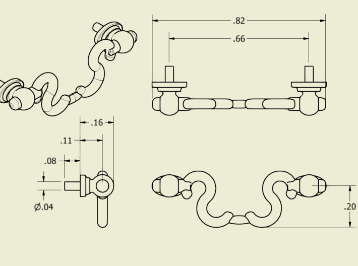 1/6 Scale Drawer Handles 3d printed