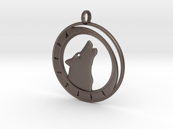 Wolf Moon - Rune Circle 3d printed Wolf Moon - Rune Circle in steel