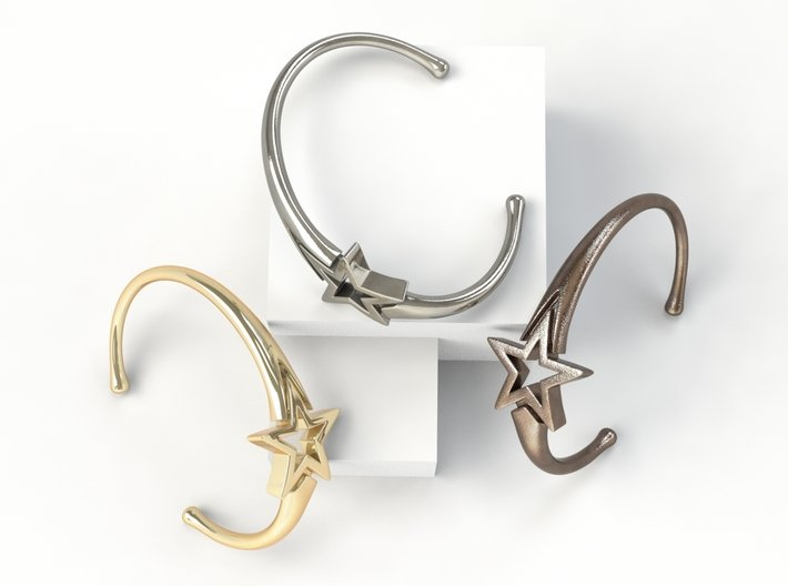 UpStar Bracelet (Size M) 3d printed Gold Plated/Polished Silver/Bronze Steel
