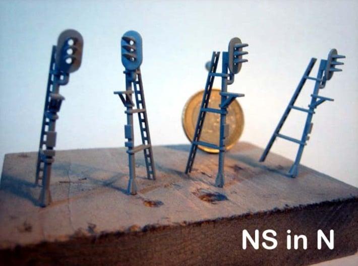 N NS hoog lichtsein LINKS met P, 4 stuks 3d printed 4 seinen in de primer...