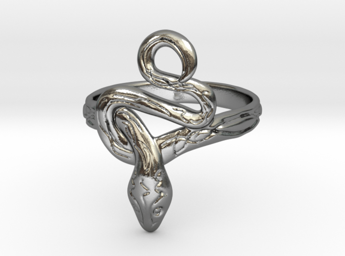Covetous Silver Serpent Ring 3d printed