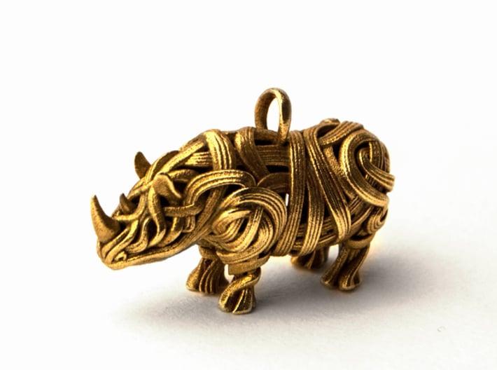 The Rhino Pendant  3d printed Rhino pendant 3D printed in Brass
