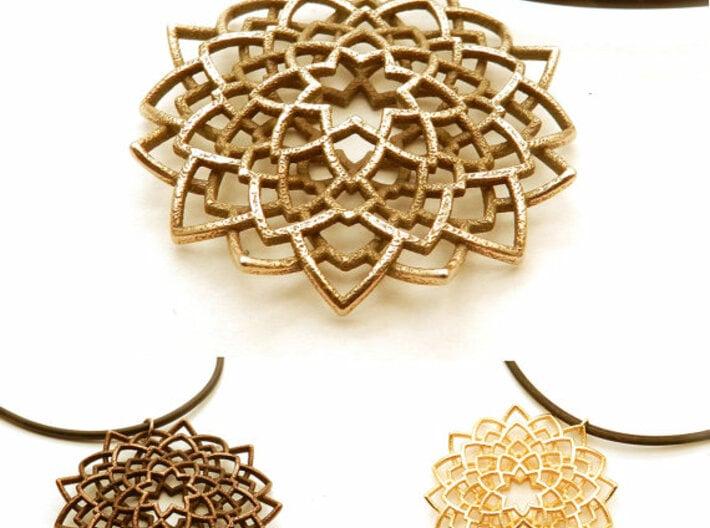 Mandala Flower Necklace 3d printed stainless steel, polished gold steel, polished bronze steel