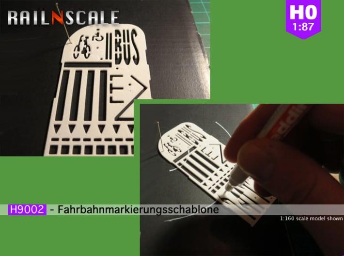 Fahrbahnmarkierungsschablone (H0 1:87) 3d printed