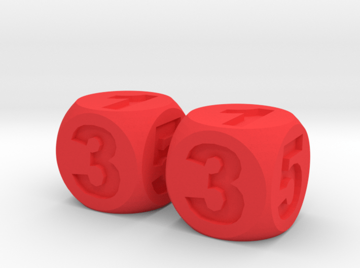Two Numbered, Dice Standard Size 16mm 3d printed