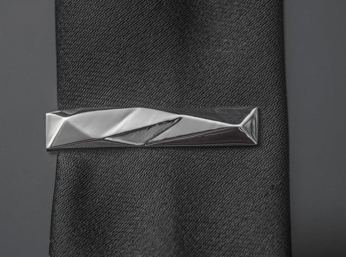 Origami Tie Clip 3d printed Tie Clip on a Tie
