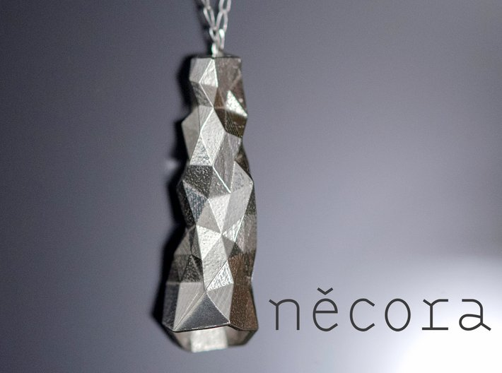 Crystalized Pendant 3d printed Crystalized Pendant in Silver with Silver chain.