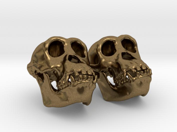 Chimpanzee Skull Earrings (Vertical Loop 25mm) 3d printed
